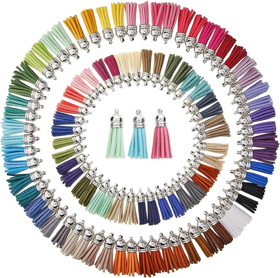 KeyZone 100 Pieces 50 Colors 40 mm Faux Suede Tassel Pendants with Caps for Key Chain Cellphone Straps DIY Accessories