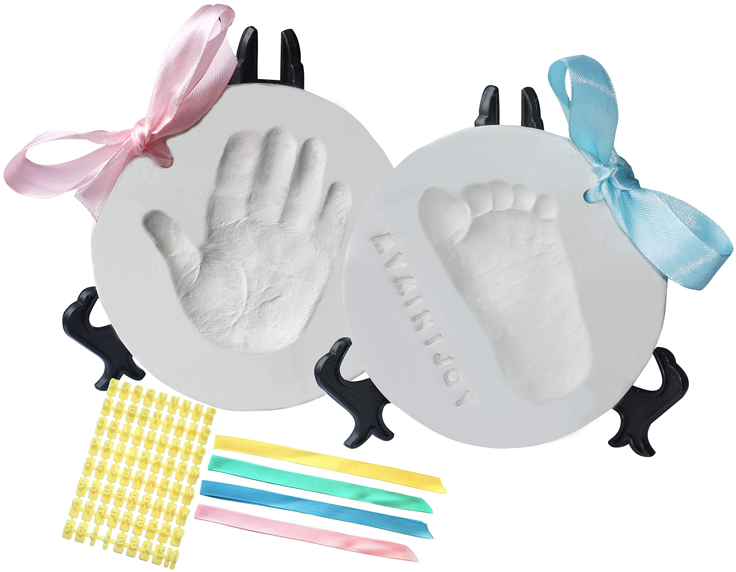 MyMiniJoy Baby Ornament Keepsake Kit (Super Bundle, 4 Ribbons, 2 Easels, Letter Set) Unique Handprint and Footprint Clay Casting Kit - Baby Shower Gift Ideas for Boys and Girls - Personalized Registry