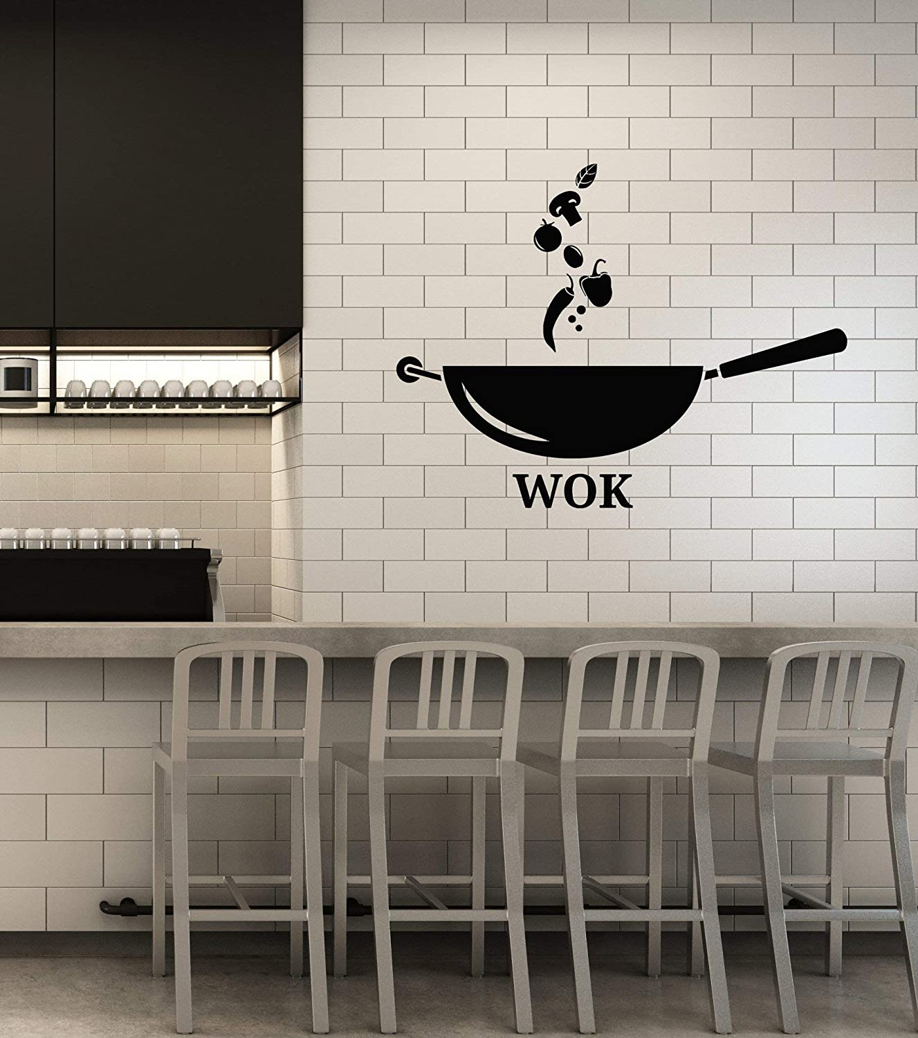 Vinyl Wall Decal Kitchen Wok Frying Pan Vegetables Food Stickers Mural Large Decor (g4546) Black
