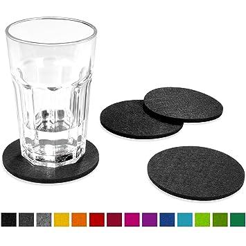 untersetzer fur glaser filu filzuntersetzer rund 8er pack farbe wahlbar dunkelgrau aus filz fa 1 4 r tisch keramik