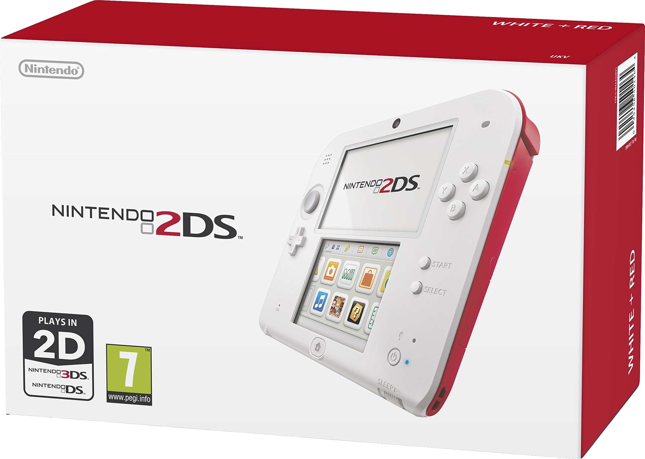 Nintendo Handheld Console 2Ds - White/Red