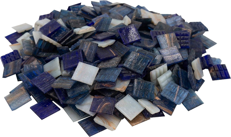Mosaik-Profis Mosaiksteine Perlmutt Blau - buntes Mosaik ideal zum Basteln Dunkelblau Kupferschimmer Glasmosaik 2x2 cm, 900g, ca. 340 St. Keine Kunststoffverpackung