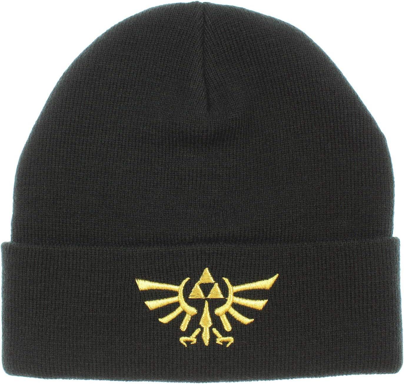 Bioworld Legend of Zelda Wingcrest Triforce Knit Cuff Beanie Hat Cap Men Women Black: Toys & Games