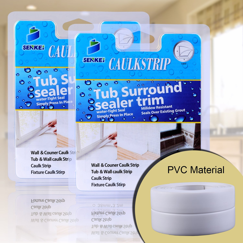 Caulk Strip Oumers Pack of 2 PVC Strong Self Adhesive 1 1 2x11' Caulk Sealer Best for Fixture Wall Bathtub Corner Kitchen Bathroom Shower Sink Countertop