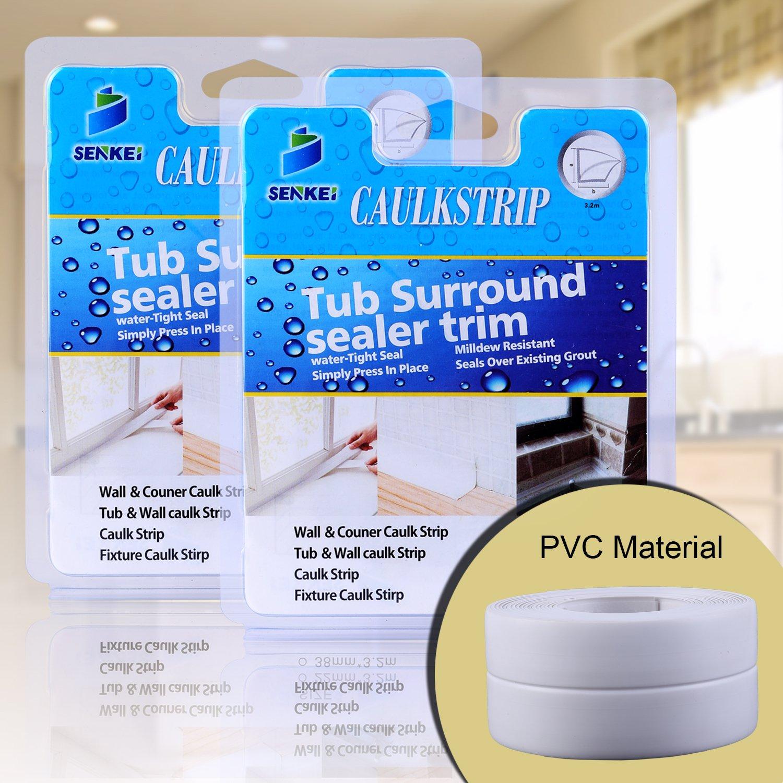 Caulk Strip, Oumers(Pack of 2) PVC Strong Self Adhesive 1-1/2''x11' Caulk Sealer Best for Fixture Wall Bathtub Corner Kitchen Bathroom Shower Sink Countertop