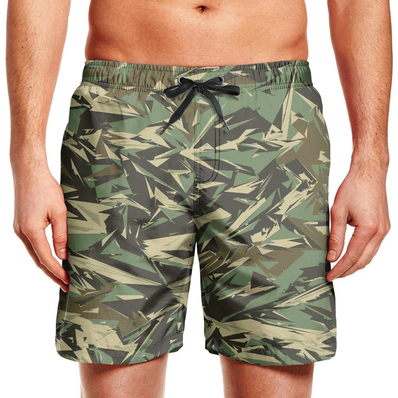 ZYLIN Mens Swim Trunks Printed Classic Woodland Fashion Camouflage Board Short Drawstring with Pockets