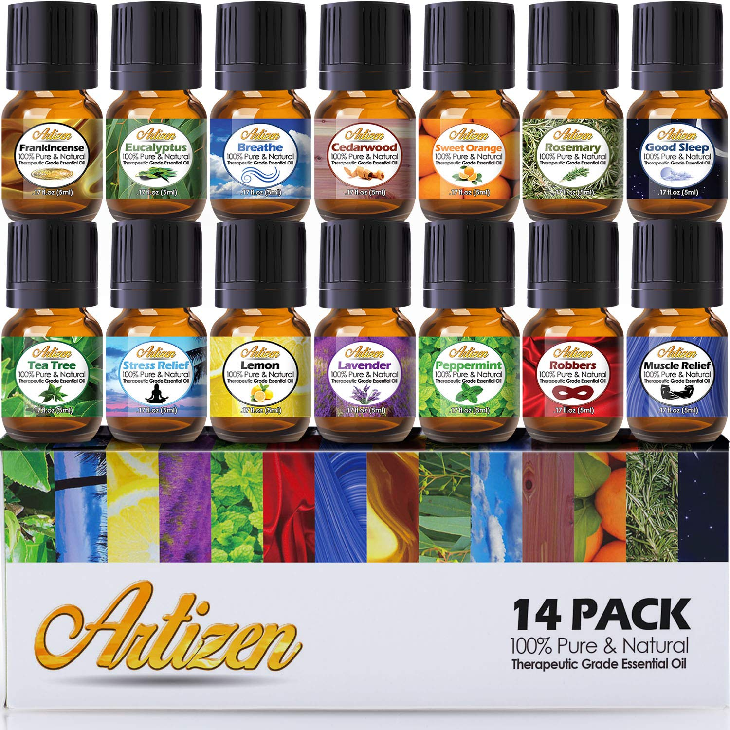 Artizen Aromatherapy Top 14 Essential Oil Set (100% PURE & NATURAL) Therapeutic Grade Essential Oils - All of Our Most Popular Scents and Best Essential Oil Blends essential oils ESSENTIAL OILS – THE BEST PICKS FOR A GOOD HEALTH AND SLEEP HELP 81KE 2B1FYDDL