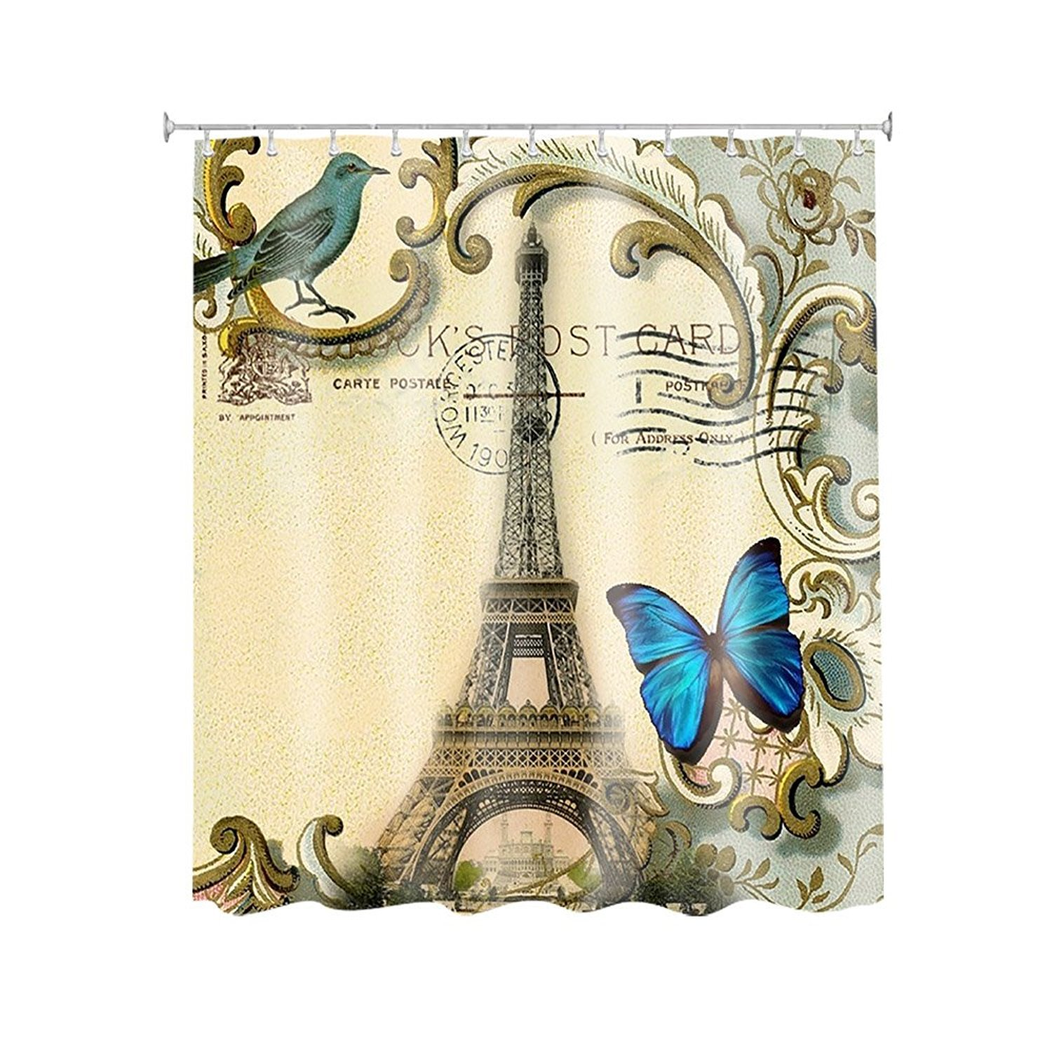 Magpie And Blue Butterfly In Paris Eiffel Tower Customize Waterproof Polyester Fabric Bathroom Shower Curtain 66*72 Inch