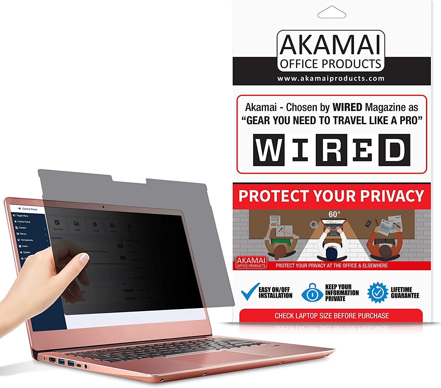 Akamai 13 Inch (3:2) Surface Book 2 Privacy Screen Filter - Removable Laptop Protector - Computer Monitor Security Film