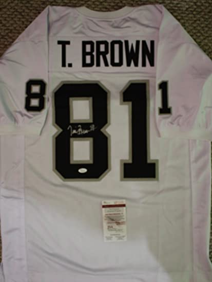quality design 07b4a bece1 Autographed Tim Brown Oakland Raiders Custom Jersey with JSA ...