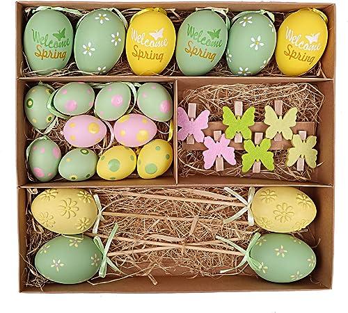 6 cm 12 Eier mit Schmetterlingsmuster in weiß /& grün Ostereier Set