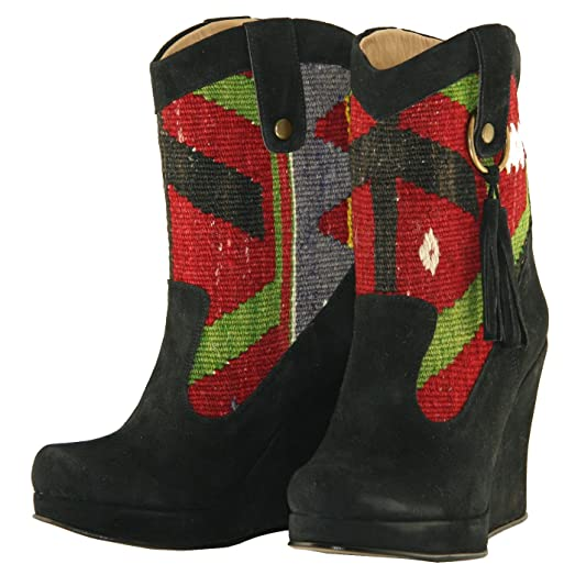 Wedged Black Western Cowboy Boots Saxon (Black; Red; Green; White; Yellow; Blue)