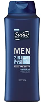 Suave Men 2 in 1 Shampoo and Conditioner, Classic Clean Anti Dandruff 28 oz