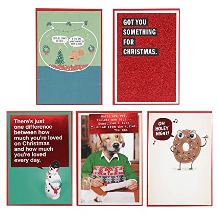 Christmas Shoebox.Hallmark Shoebox Funny Christmas Cards Assortment 5 Cards With Envelopes