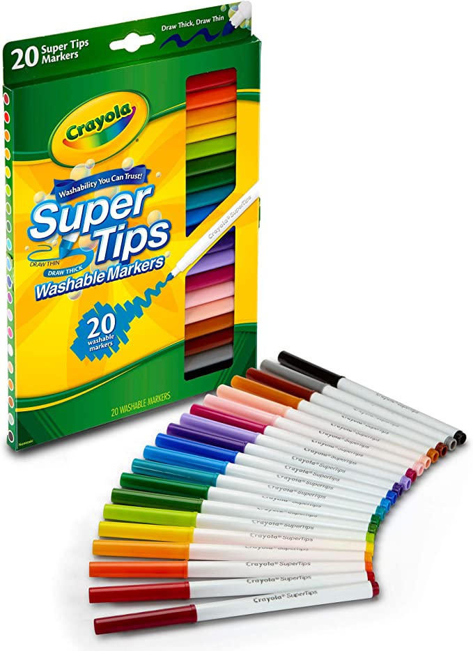 Amazon.com: Crayola Super Tips Markers, Washable Markers, 20 Count: Toys &  Games
