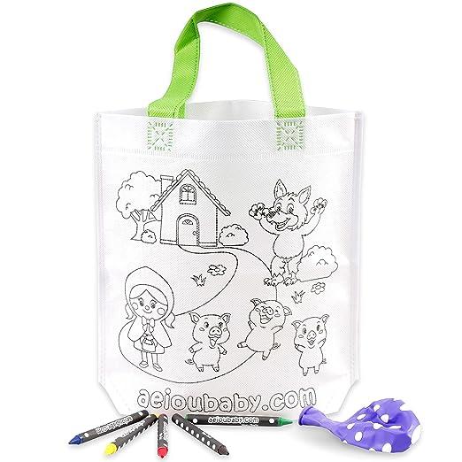 aeioubaby.com 30 Bolsas para Colorear | 30 Bolsas Individuales con 5 Ceras de Colores y Globo | Regalo niños Fiestas y cumpleaños