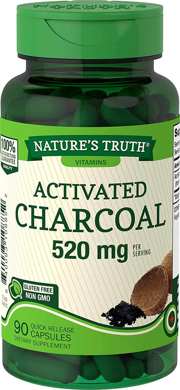 Activated Charcoal Capsules 520mg | 90 Count | Non-GMO, Gluten Free Pills | by Nature's Truth
