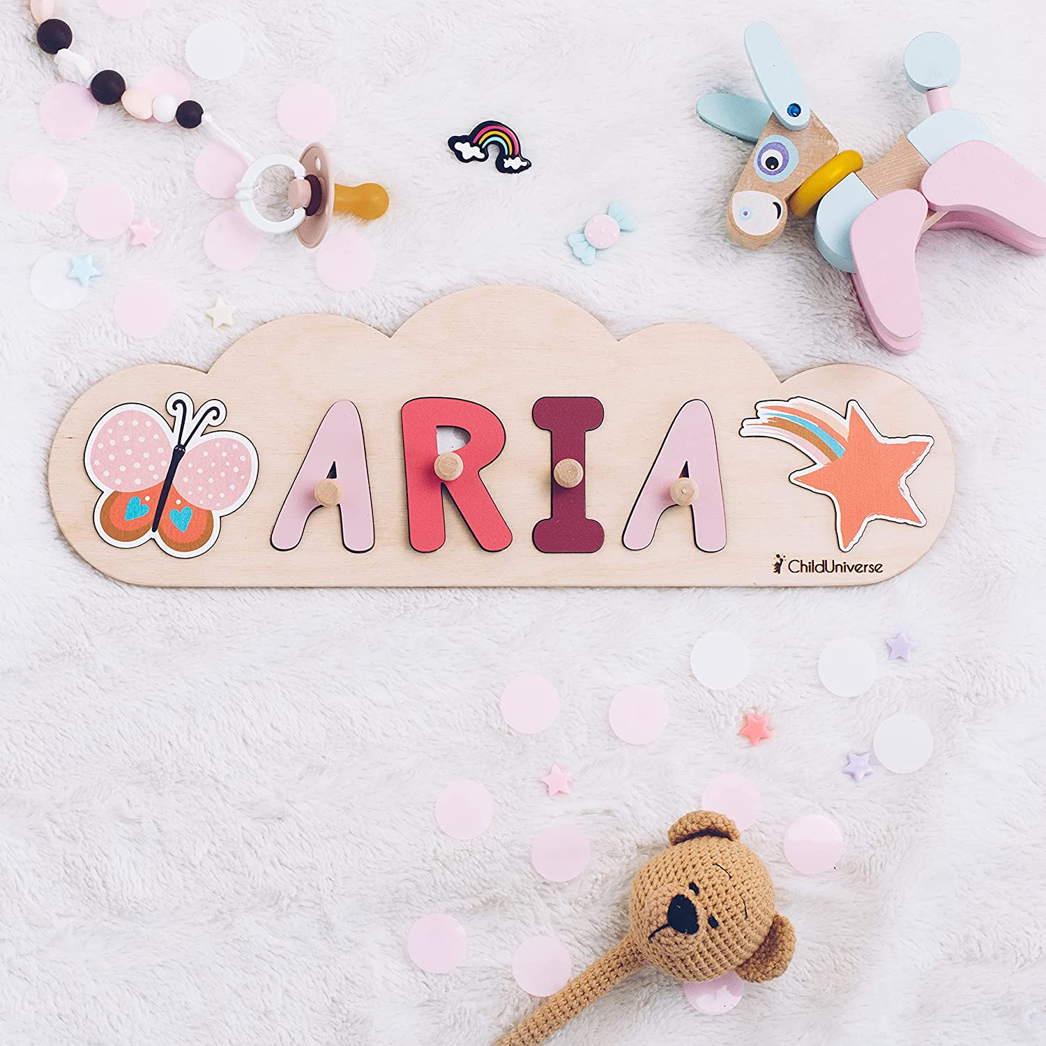 Personalized Wood Name Puzzle With Pegs & Custom Design - Toddler Name Puzzle For Girls & Boys - Montessori Toys Nursery Décor - Name Sign 1st Birthday Gift for Baby