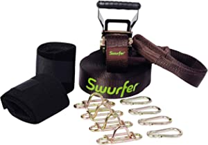Swurfer Skyline - Heavy Duty Universal Swing Hanging Line with 4 Adjustable Quick Connect Locking Steel Anchors for Multiple Swings