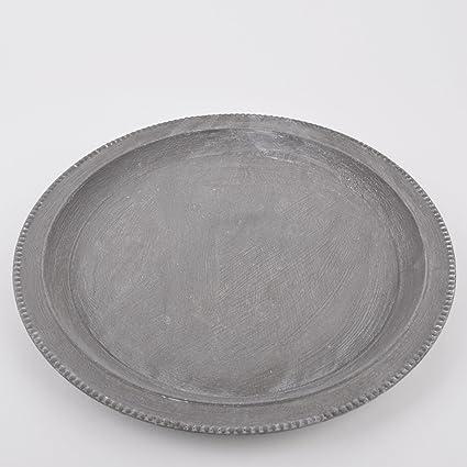 Cuenco redondo Vintage Style – Madera Gris Cuenco decorativo (Plato Bandeja, madera, gris