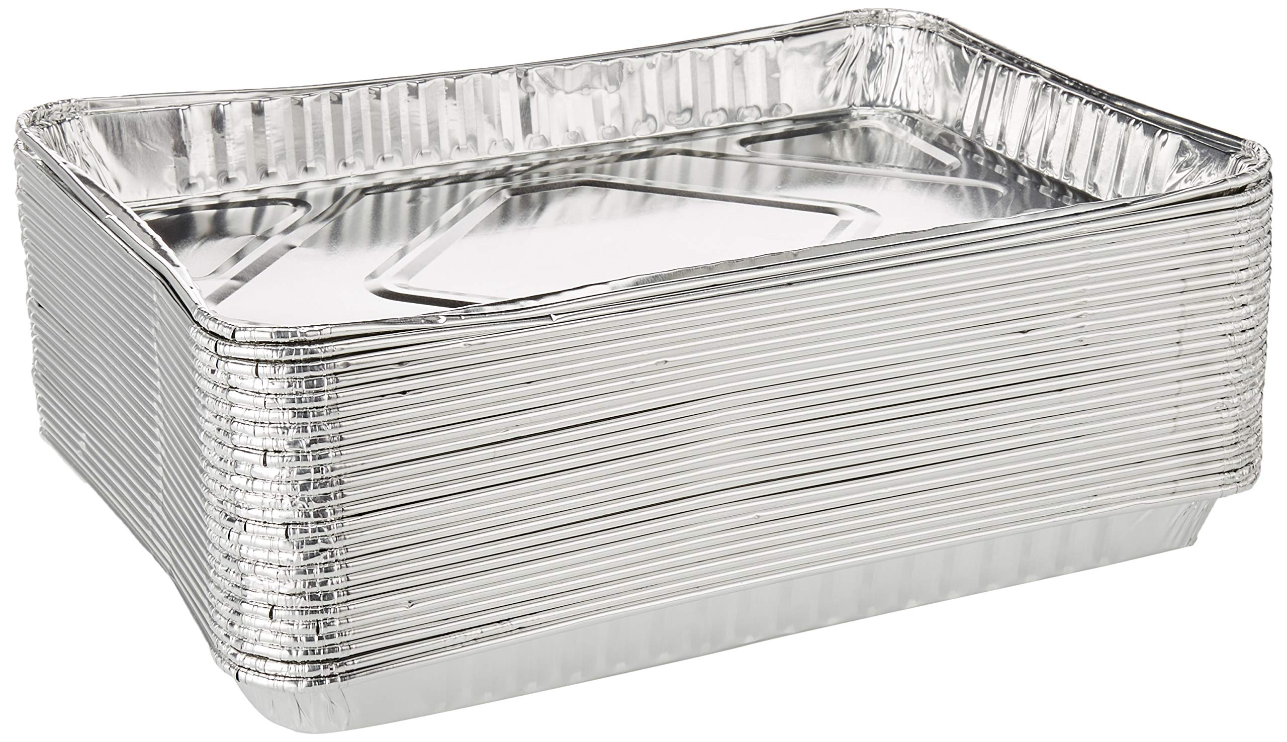 Pack of 25 1/4-Size (Quarter) Sheet Cake Aluminum Foil Pan- Extra Sturdy and Durable - Great for Bake Sales, Events and Transporting Food - 12-3/4'' x8-3/4'' x 1-1/4''