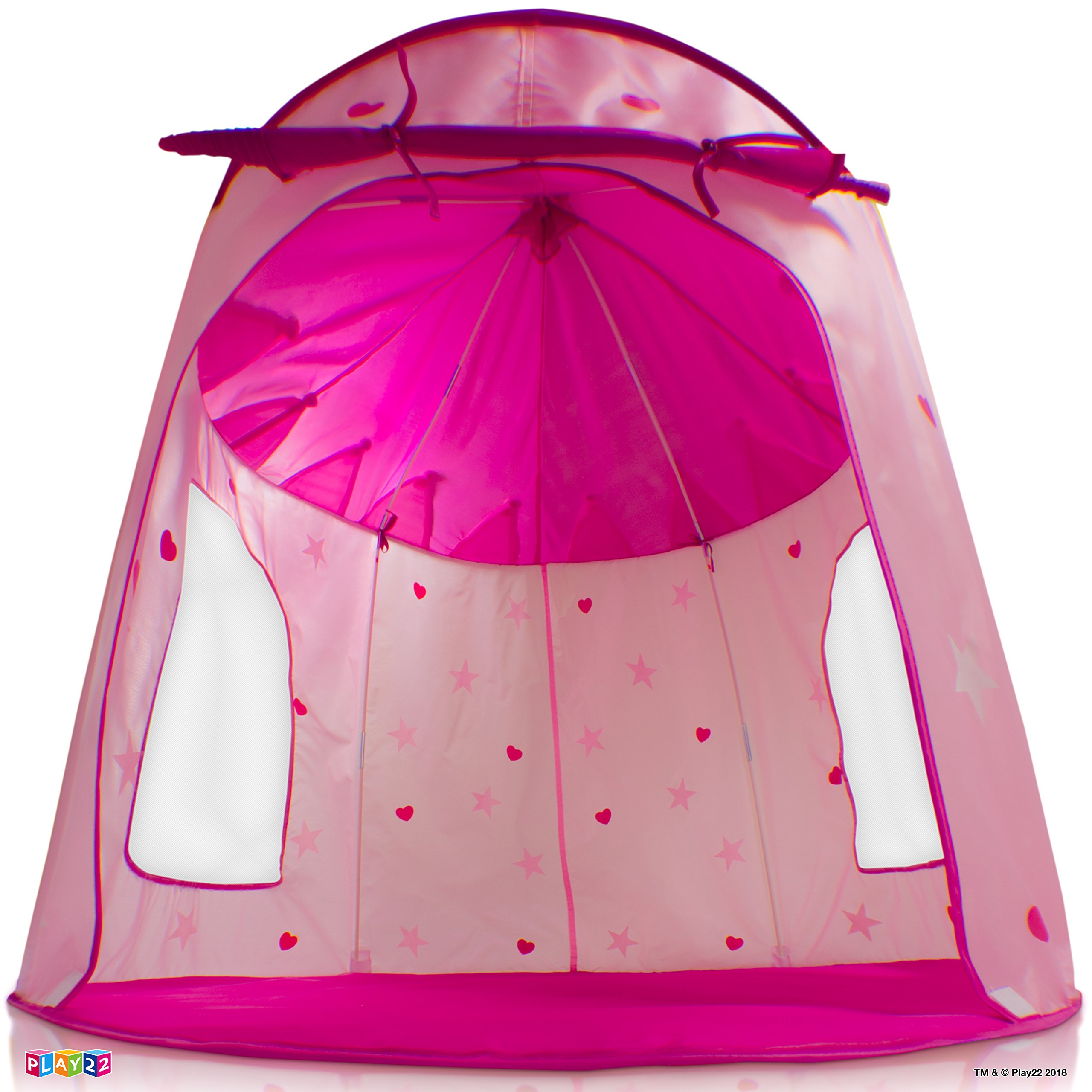 Play22 Play Tent Princess Castle Pink - Kids Tent Features Glow in The Dark Stars - Portable Kids Play Tent - Kids Pop Up Tent Foldable Into A Carrying Bag - Indoor and Outdoor Use - Original by Play22 (Image #6)