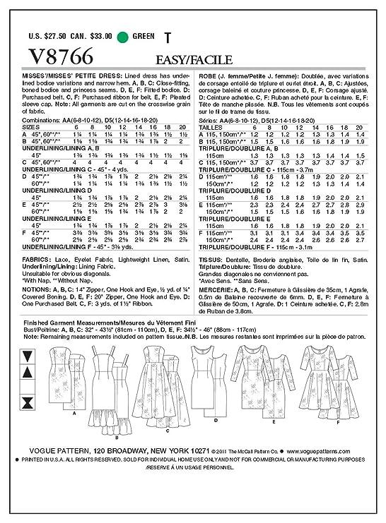 Vogue Patterns V8766 - Patrones de costura para vestidos de mujer ...