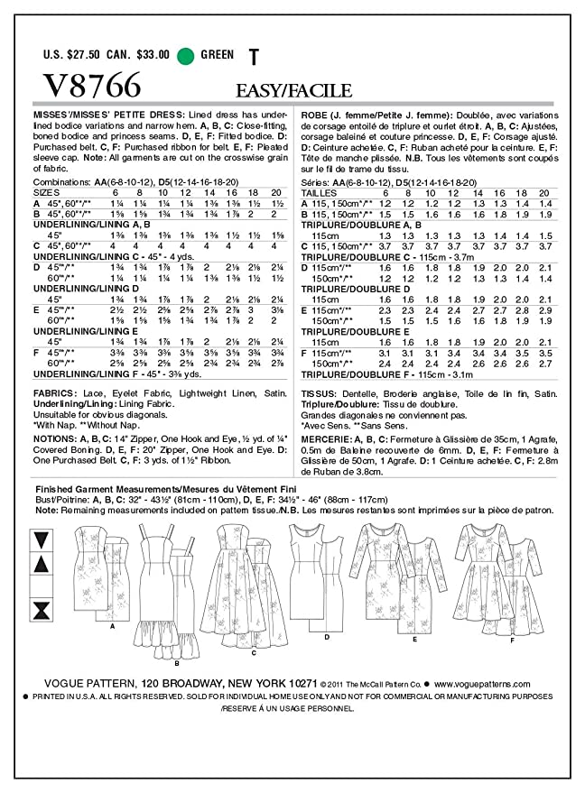 Vogue Patterns V8766 - Patrones de costura para vestidos de mujer ...