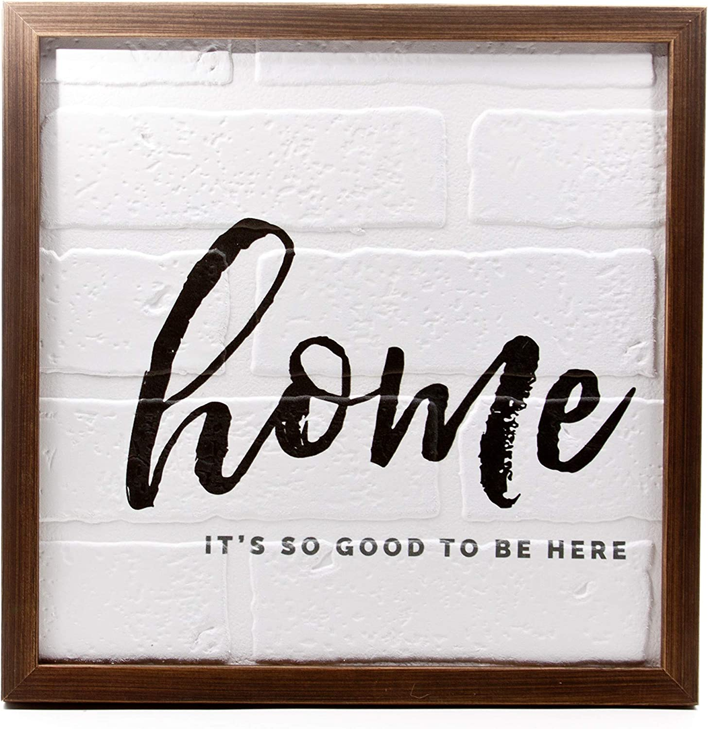 """ReLive - """"Home It's So Good to Be Here"""" Wooden Sign with Brick Background Wall Art - Inspirational Decor"""