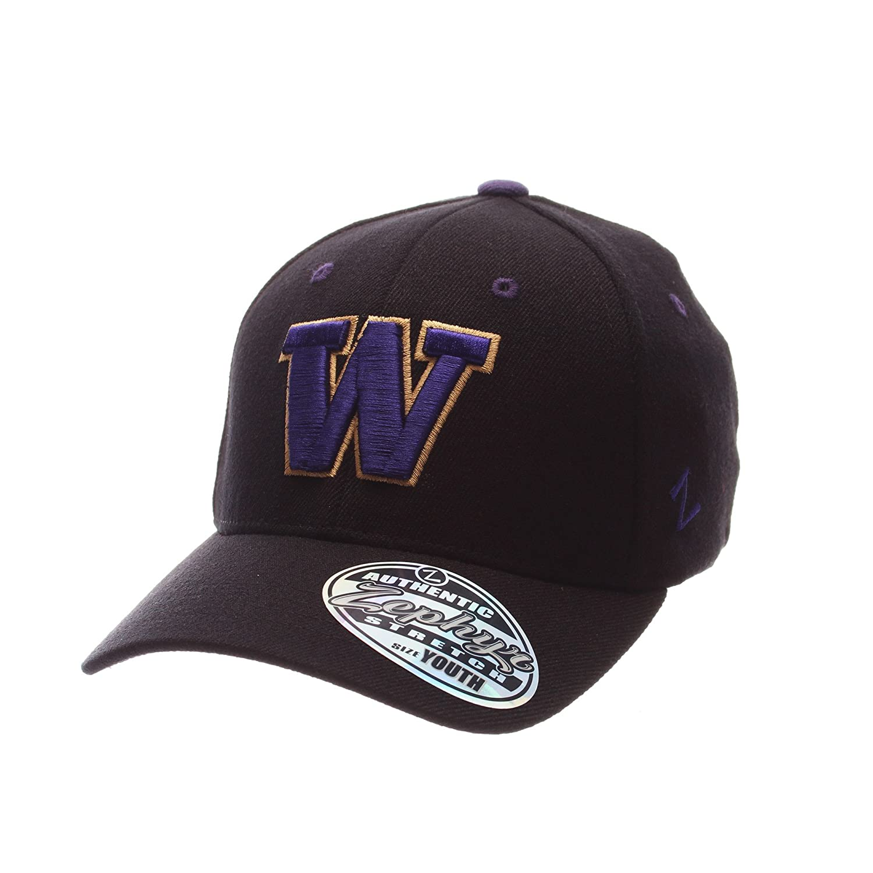 Zephyr Men 's Washington Huskies ZH Zwoolストレッチフィット帽子ブラックXS   B01NAEQLN5