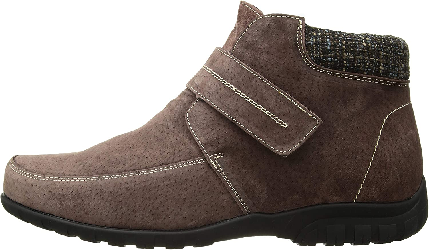 Brown Suede 9.5 2X-Wide Propet Womens Delaney Strap Ankle Boot