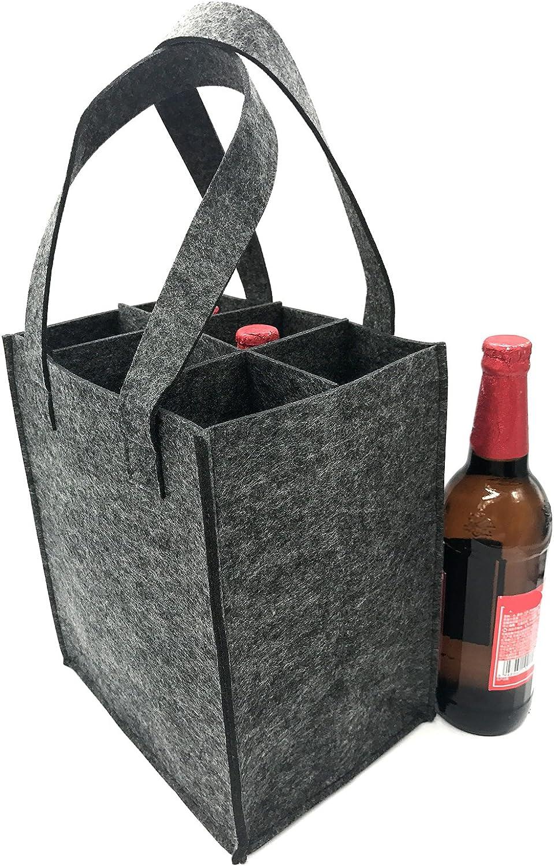 Amacoam M/ännerhandtasche Bier Filz Flaschentr/äger 6 Flaschen Weinflaschen Geschenk Tasche Biertr/äger Flaschentasche Wiederverwendbare Waschbar mit Abnehmbaren Teiler Getr/änketasche Geschenke M/änner