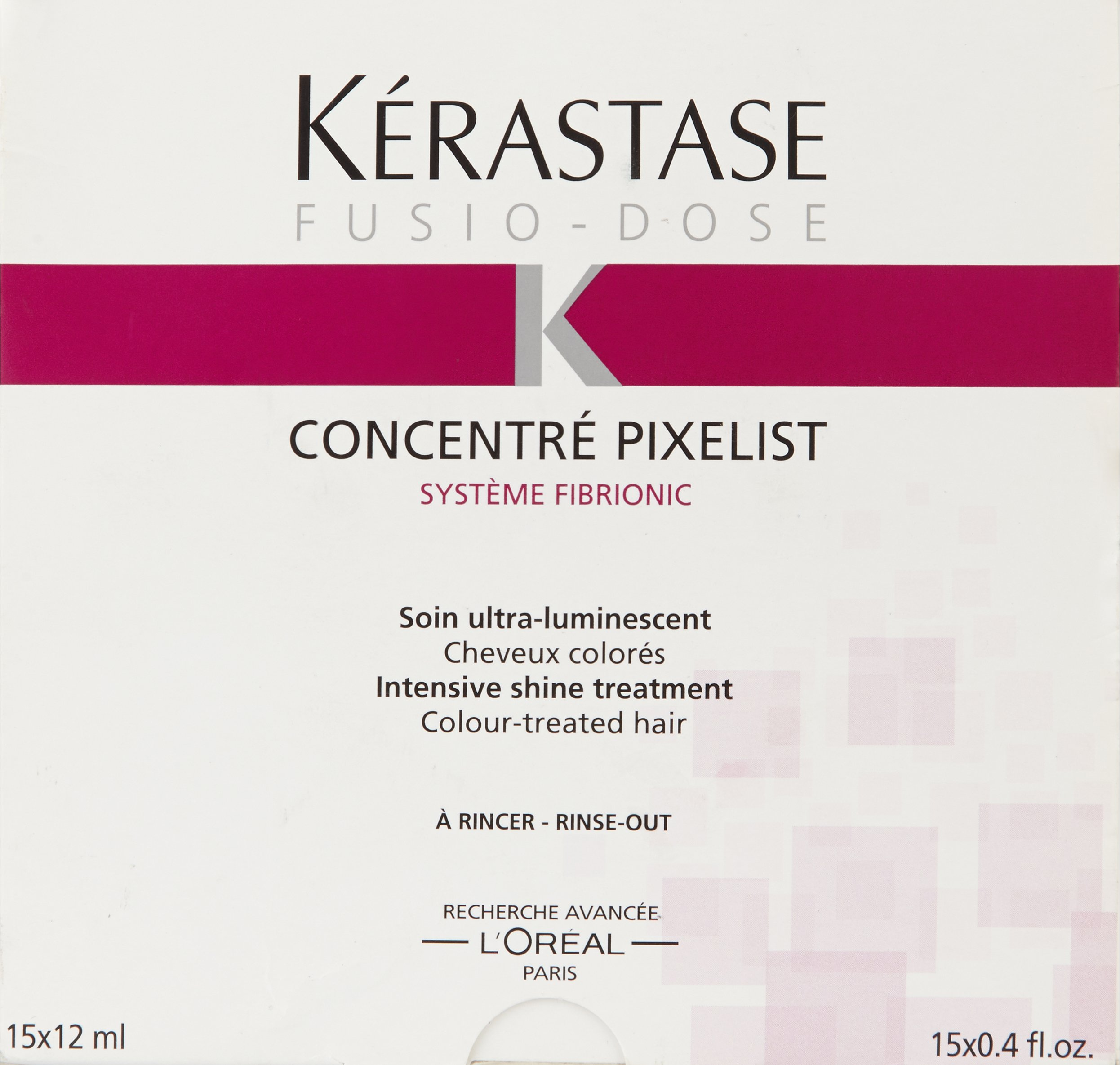Kerastase Fusio-Dose Concentre Pixelist Intensive Shine Treatment for Unisex, 0.4 Fl Oz, 15 Count