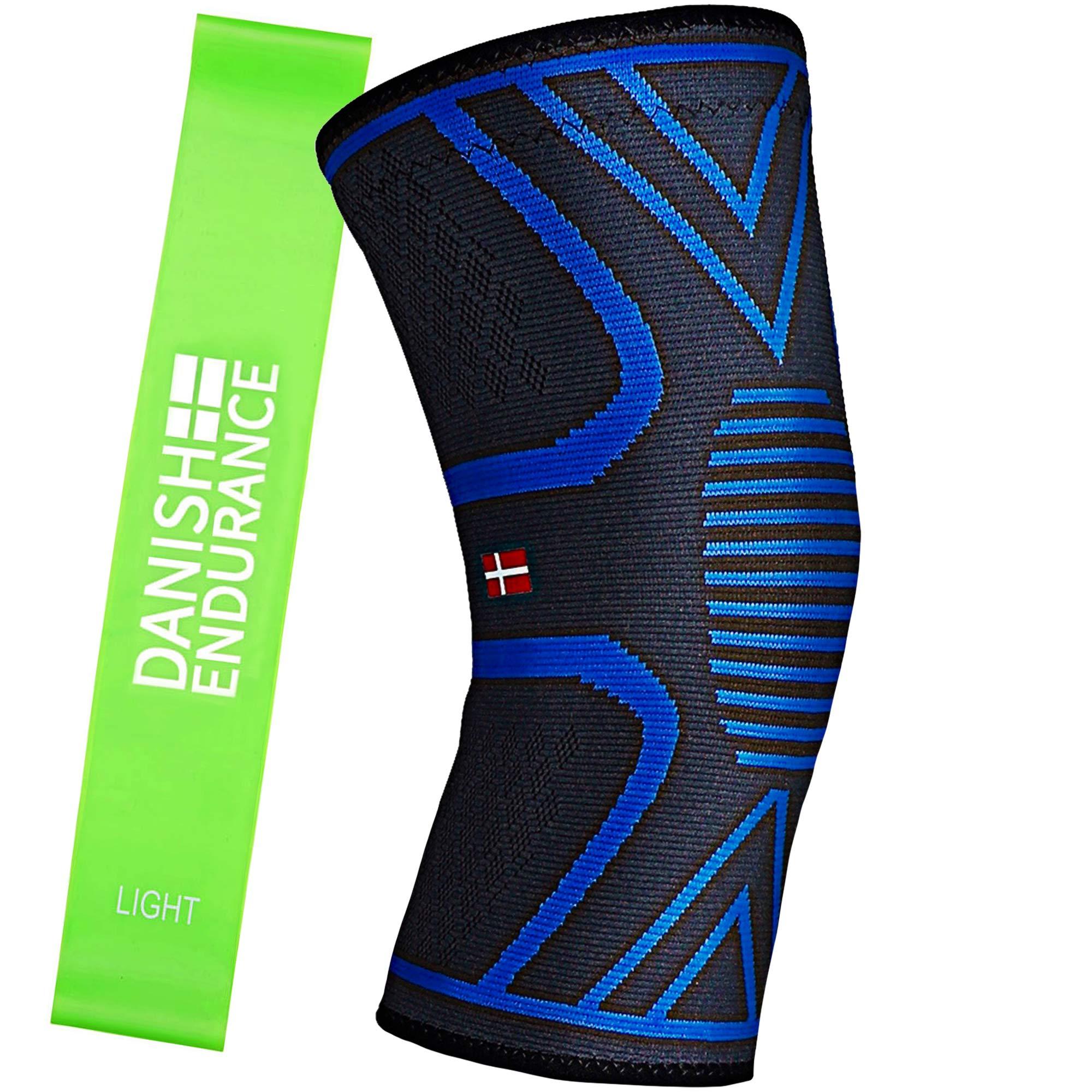 Rodillera Deportiva incluida Banda de Ejercicio DANISH ENDURANCE, soporte y compresión para correr, crossfit