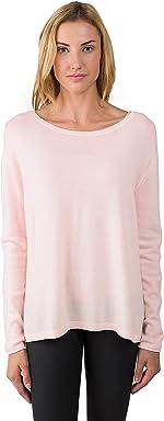 53e00c9d32e JENNIE LIU Women s 100% Cashmere Long Sleeve Boatneck High Low Dolman  Sweater