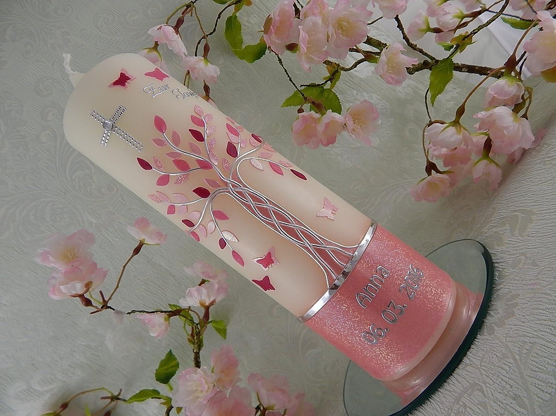 Taufkerze Lebensbaum rosa silber Taufkerzen Mädchen 250/70 mm inkl. Beschriftung