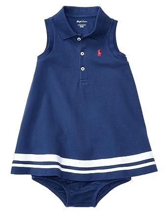 b7508c5c5 Ralph Lauren Baby Girls Striped Polo Dress & Bloomer Set (3 Months, Fresco  Blue