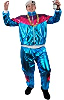 SHELL SUIT COSTUME FANCY DRESS 80'S SHELLSUIT CHAV OUTFIT BLUE SHINY ZIP-UP JACKET + MATCHING TROUSERS WITH POCKETS TRACKSUIT