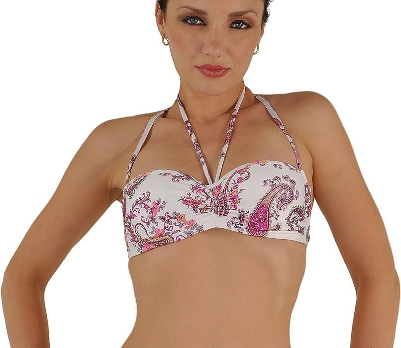c3a0393cf5 Amazon.com  Byzance Lightly Padded Bandeau Bikini Top White Paisley ...