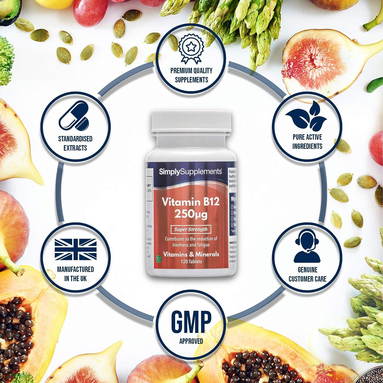 Vitamina B12 250mcg - 120 Comprimidos - 4 meses de suministro - Para el correcto funcionamiento del Cerebro - SimplySupplements: Amazon.es: Salud y cuidado ...