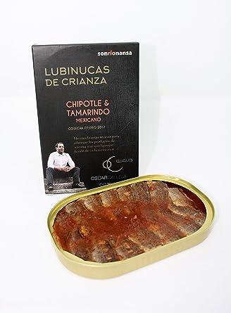 Conserva Gourmet de Lubina de crianza ecológica en salsa mexicana de Chipotle&Tamarindo, Envasado en Santoña