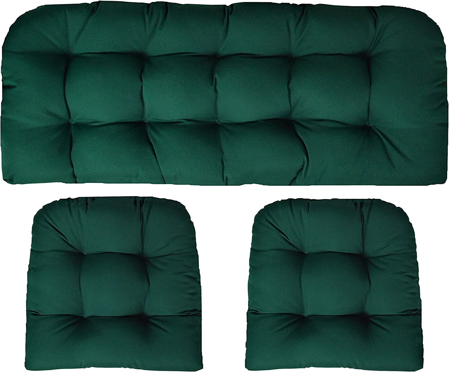 RSH Decor Sunbrella Canvas Forest Green 3 Piece Wicker Cushion Set – Indoor Outdoor Wicker Loveseat Settee 2 Matching Chair Cushions – Green