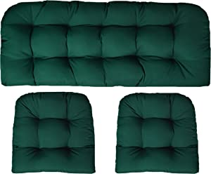 RSH Decor Sunbrella Canvas Forest Green 3 Piece Wicker Cushion Set - Indoor/Outdoor Wicker Loveseat Settee & 2 Matching Chair Cushions - Green