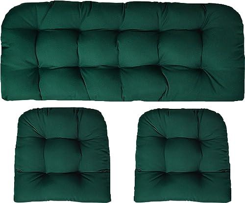 RSH DECOR Sunbrella Canvas Forest Green 3 Piece Wicker Cushion Set – Indoor Outdoor Wicker Loveseat Settee 2 Matching Chair Cushions – Green
