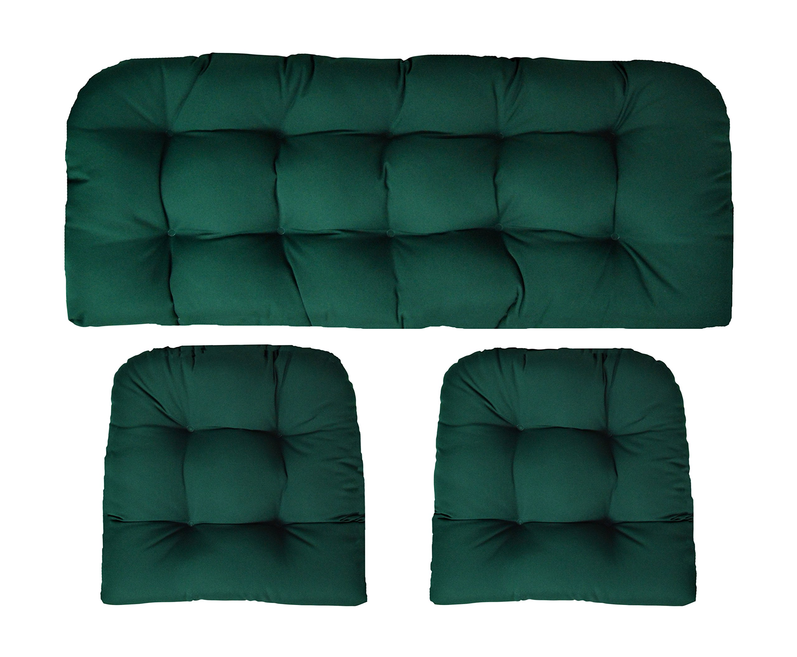 RSH Decor Sunbrella Canvas Forest Green Large 3 Piece Wicker Cushion Set - Indoor/Outdoor Wicker Loveseat Settee & 2 Matching Chair Cushions - Green