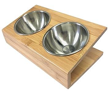 Plato de alimentación de bambú para gatos.