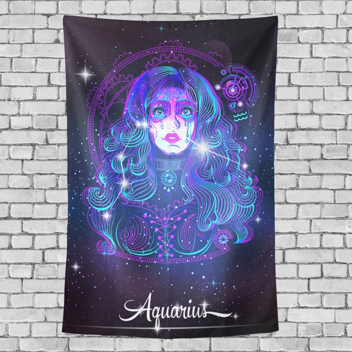Home Decor 12 Constellation Zodiac Signs Aquarius Tapestries Hanging Bedroom Living Room Decorations Polyester Tapestry Wall Art 90X60 Inches