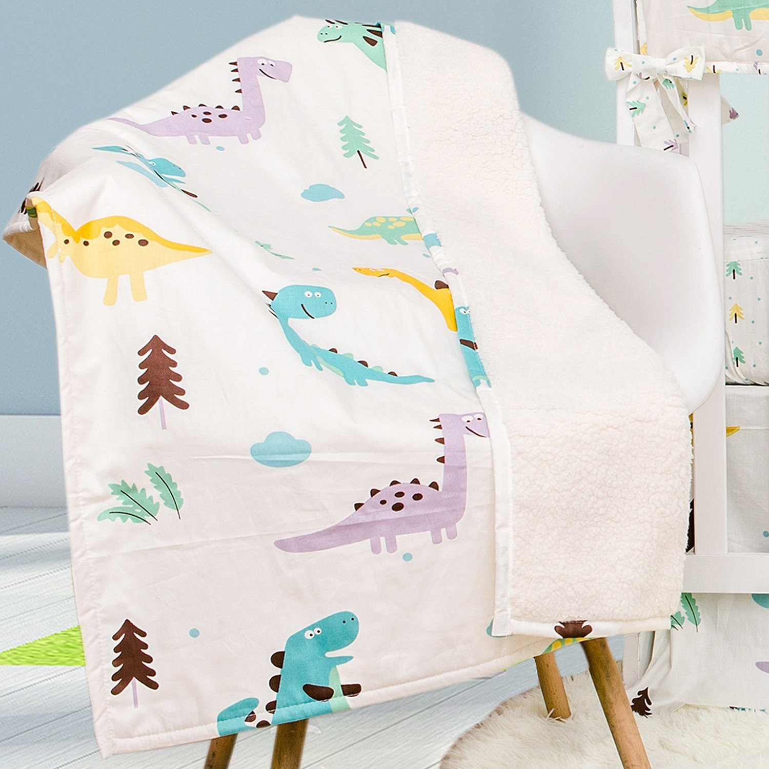 Toddler Baby Cotton Quilt Blanket Brandream Dinosaur Crib Bedding Sets with CribWrap Rail Cover White 100% Breathable Cotton 9 Pieces