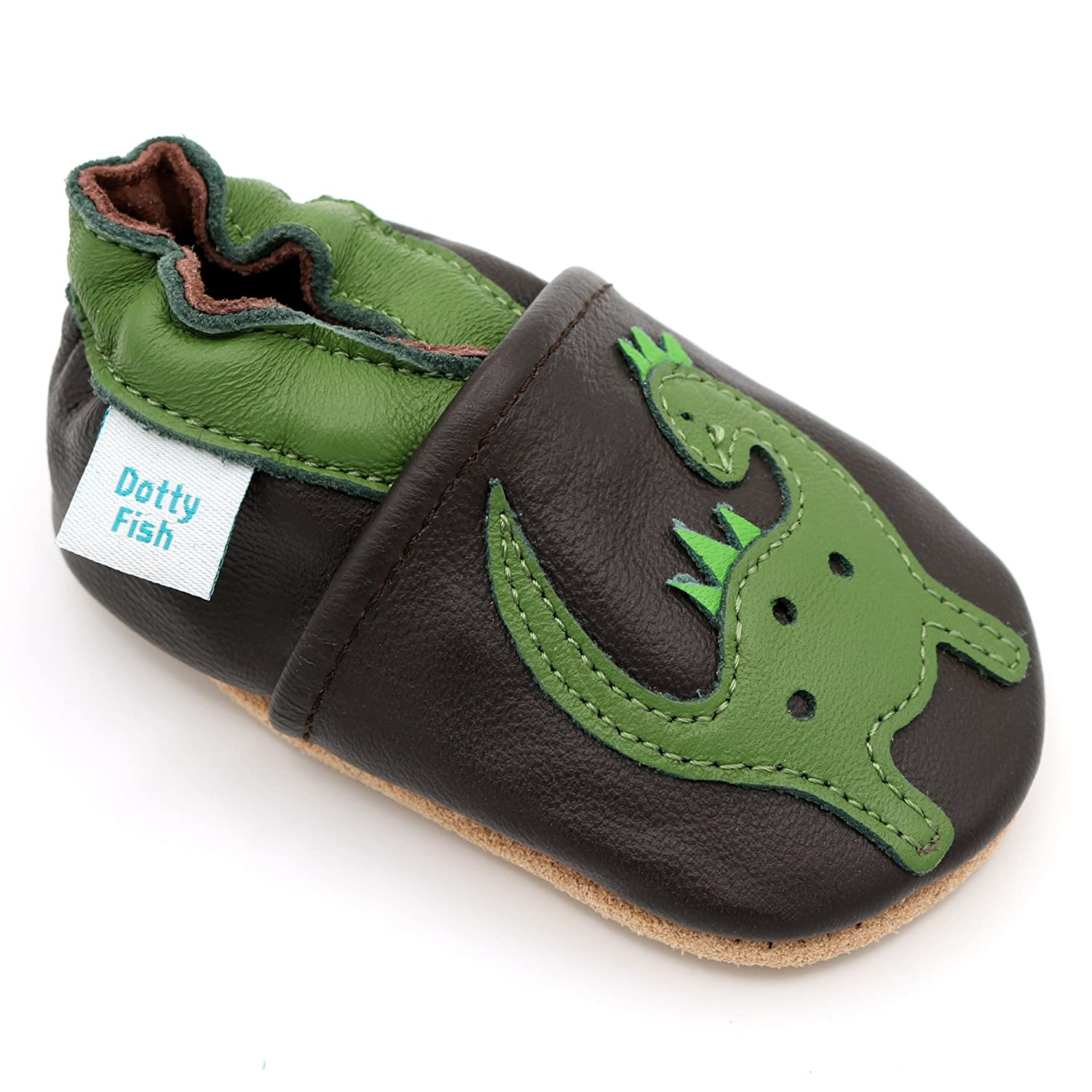 Dotty Fish Soft Leather Baby Shoes Non Slip Suede Soles. Toddler Shoes. Animal, Transport Star Designs Boys. Newborn to 4-5 Years FBA-COHEARTS-P