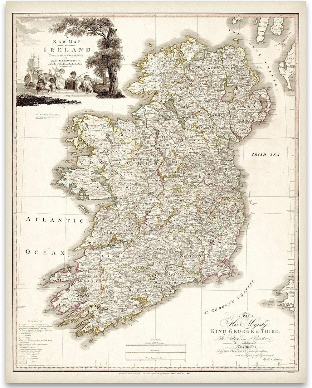 Map Of Ireland In Irish.Amazon Com Map Of Ireland 1792 11x14 Unframed Art Print Great